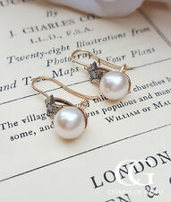 Victorian Inspired Pearl Drop Earrings in Rose Gold with Diamond Studded Stars