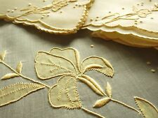 IRIS Vtg MARGHAB Maderia Hand Embroidery Organdy Tea Tablecloth 4 Napkins YELLOW