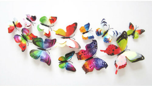 12Pcs 3D Room Wall Double Layer Butterfly Decal Butterflies Stickers Decoration