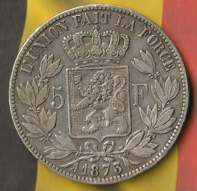 1873 5 Belgium Francs~ 90% Silver~ Large Coin In Fairly good shape~