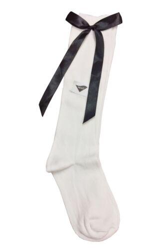 New Girls Knee High Plain Long Socks With Satin Bow Kids Fashoin Back To School