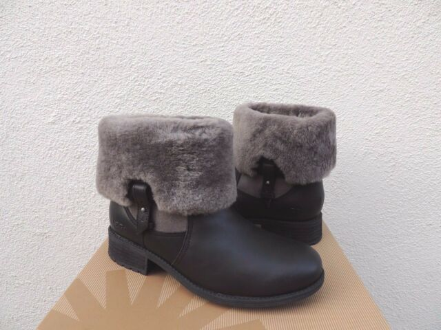 e9c1a77a5794 UGG Chyler Leather Cuffed Sheepskin Black Ankle BOOTS Size 9 US for ...