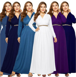 Women-Evening-Dress-Party-Long-Sleeve-V-Neck-Formal-Gown-Fashion-Dresses