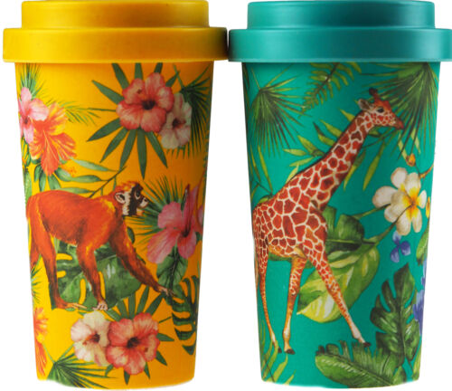 Monkey Set Of 2 Safari Animal Eco Friendly Bamboo Travel Mugs Cups Giraffe