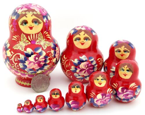 10 Red Babushka flowers Nesting Russian Matryoshka doll Genuine NIKITINA signed