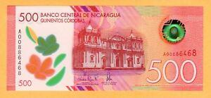 Nicaragua 500 Córdobas UNC P-New 2017 Prefix A Polymer Banknotes