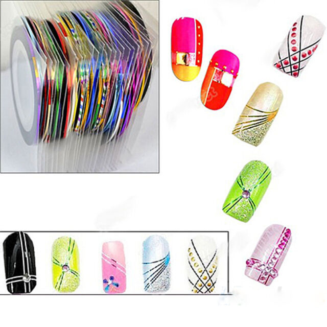 10 Colors Rolls Striping Tape Line Nail Sticker Nail DIY Kit Nail Art UV Gel Tip