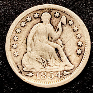 1854 Seated Liberty Silver Half Dime 5c Obsolete Type Coin Decent Details Filler