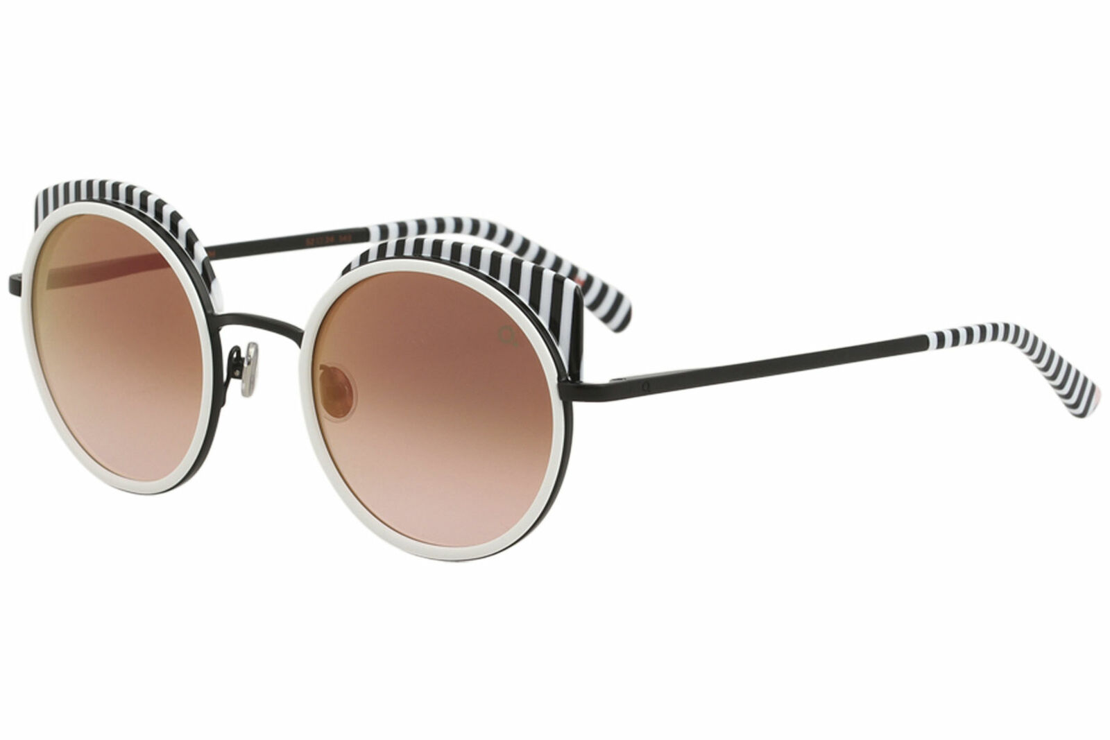 Etnia Barcelona Women's Spiga BKWH Black/White Fashion Round Sunglasses 52mm