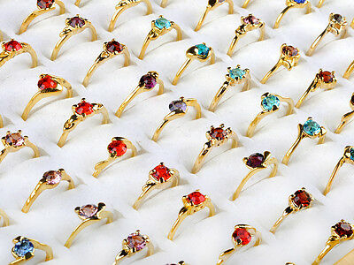 Wholesale Jewelry Lots 50pcs Crystal Rhinestone Gold Plated Rings Free shipping