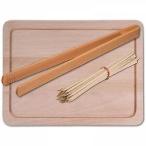 Hofmeister Set 3 pièces de hêtre 32 cm échiquier Grill brochettes Pince à barbecue-afficher le titre d`origine CemRTYtC-07221940-430738437