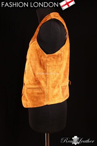/'WESTERN/' Tan Suede Casual Formal Real Genuine Lambskin Leather Waistcoat