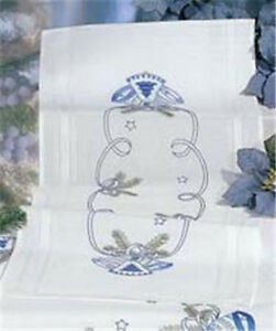 Christmas Holiday BLUE BELL White Oblong Cotton TABLE RUNNER Embroidery KIT NEW