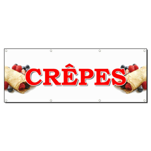 CRÊPES FOOD FAIR TRUCK RESTAURANT 3 ft x 6 ft Banner Sign w//6 Grommets