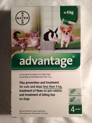 ADVANTAGE green 4 TUBES small cats, dogs or rabbits 3- 10 pounds