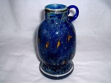 Blaue Glasvase mit gelben Einschlüssen Dekor  Pfauenauge  von EISCH  Frauenau