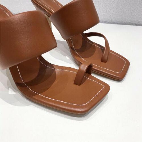Women/'s Summer Block High Heels Slippers Sandals Ladies Split Square Toe Shoes