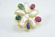 Ottoman Gems semi precious stone ring gold  Emerald Sapphire Ruby Pearl handmade