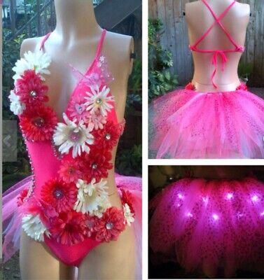 Pink Rose bra EDC outfit Halloween Costume Spanish Rose Rave Bra festival wear