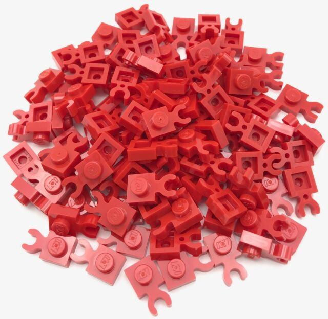 Lego 100 New Red Plates Modified 1 x 1 with Clip Vertical ...