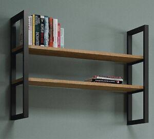 Libreria A Muro In Legno.Dettagli Su Libreria A Muro In Metallo Componibile Con Mensole In Legno Linea Industrial 720