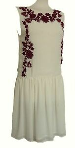 ZARA-Womens-IVORY-FLORAL-RED-Embroidered-Tunic-Chiffon-Dress-UK-XS-S-M-39-99
