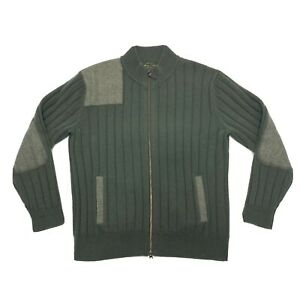 Orvis-Signature-Collection-Mens-L-Green-Full-Zip-Wool-Cashmere-Sweater-Patches