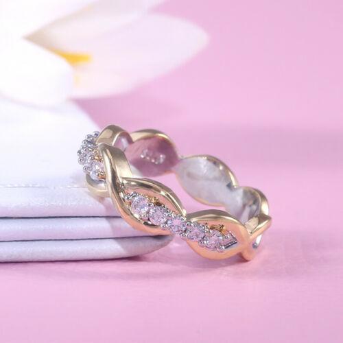Magnifique Deux Tons Argent 925 Anneau Femmes Blanc Saphir Bague de mariage Taille 6-10