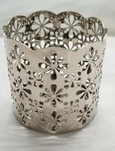 Yankee-Candle-Small-Jar-Holder-Metal-Silver-Floral-Flower-Burst-Sunflower