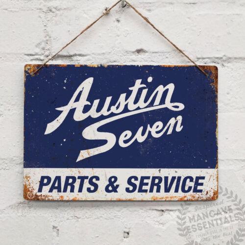 AUSTIN SEVEN Blue Replica Vintage Metal Wall sign Retro Garage Shed Racing
