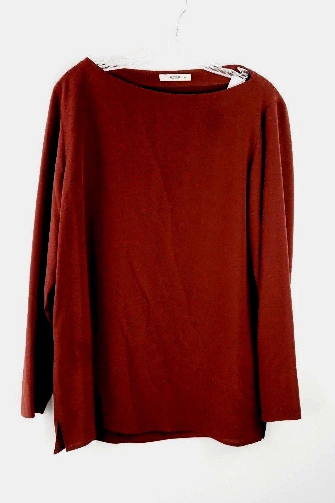 NWT  Womens Etro Burnt Brown 100% Silk Blouse Top Size Euro 46, US 12