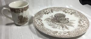 THANKSGIVING-Queens-Dinner-Set-Of-2-Plate-10-034-amp-Mug-Brown-White-Turkey