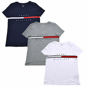 d29261e13 Tommy Hilfiger Womens T-shirt Big Logo Relaxed Fit Short Sleeve Crew ...