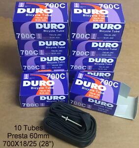 10 TEN 700x18C//25C Bicycle Inner Tubes Presta 60mm Fixie Road Bike Tube