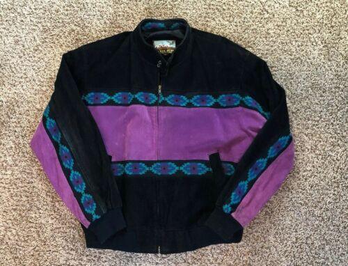 lederen jas suede Xl 90s jas Vintage Adler Aztec zuidwestelijke WH29DIE