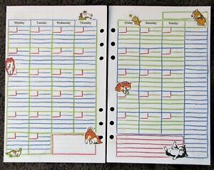 MONTHLY-Undated-Refill-for-A5-6-Ring-Planner-Organizer-Insert-Dog-Cat