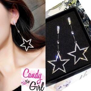 Crystal Diamante Long Drop Star Rhinestone Sparkle Fashion Earrings
