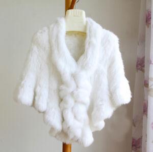 Bridal-Wedding-Shawl-White-Shrug-Real-Rabbit-fur-Shawls-Poncho-Cape-Wrap-Falbala