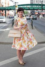 ILGWU Damen Kleid dress weiß white rosa pink 50er True VINTAGE 50´s women Blumen