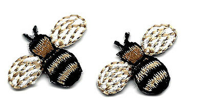 SET OF 2 BEES, BLACK & BROWN - INSECTS - BEES -  Iron On Embroidered Patch