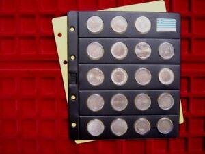 5-Hojas-NUMIS-negra-rigida-con-19-BURBUJAS-monedas-de-2-uros-y-Bandera