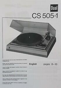 Dual CS 505-1 hifi tourne-disques électrophone Instructions D'utilisation-Manuel de l'utilisateur