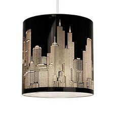 Modern New York Skyline Gloss Black Ceiling Pendant Light Lamp Shade Lampshade