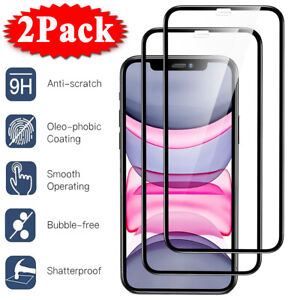 2-Pack-For-iPhone-11-Pro-X-XR-XS-Max-FULL-COVER-Tempered-Glass-Screen-Protector