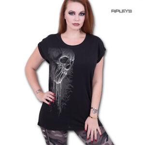 Spiral-Direct-Ladies-T-Shirt-Black-Goth-BAT-CURSE-Dripping-Skull-Top-All-Sizes