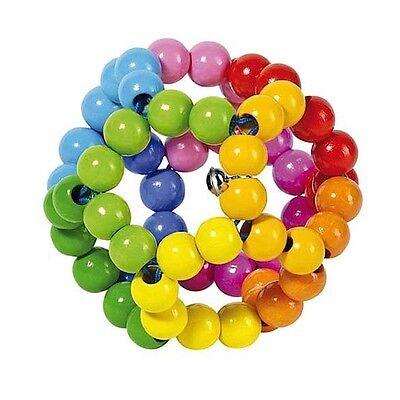 GOKI GREIFLING Elastik Regenbogenball aus Holz Baby Spielzeug Rassel °NEU°
