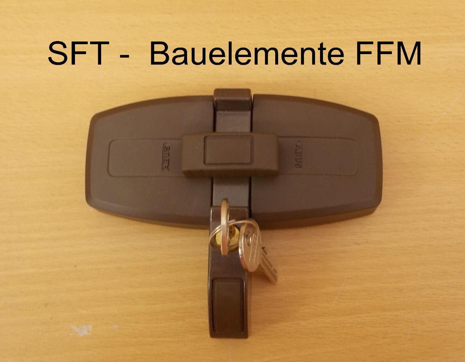 DFS95 Fenster-Zusatzschloß für Doppelflügelfenster mit Mittelsteg Farbe braun