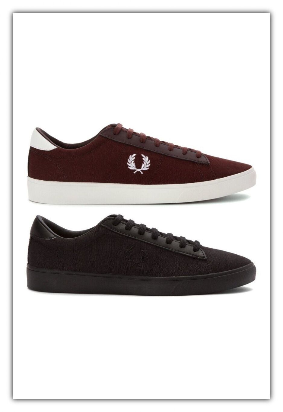Fred Perry shoes Mens Spencer Canvas Leather Sneakers Fred Perry Trainers B7253