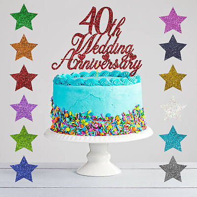40th Wedding Anniversary Cake Topper Glitter Ruby Anniversary