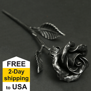 11th Wedding Anniversary Gift - Hand Forged Steel Rose ...